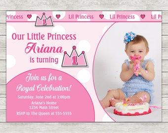 Princess Birthday Invitation, Princess 1st Birthday Invitation - Digital File (Printing Services Available)