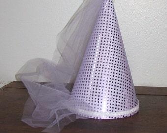 Cute Lavender Sequin Girls Deluxe Princess Damsel Medieval Cone Hat