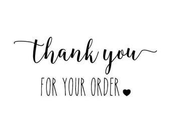 """Thank You For Your Order Stamp, envelope stamp, packaging stamp, label stamp, stationery stamp, business stamp, thank you, 1.6""""x0.8"""" (txt7)"""