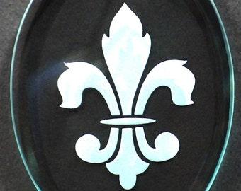 Carved Glass Fleur de Lis Ornament