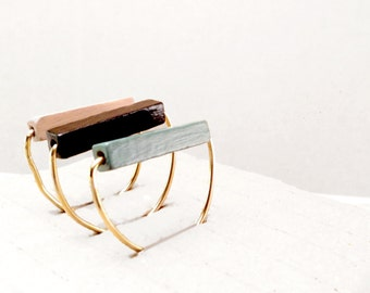 Minimal geometric Ring. set of stakable ring. Rustic rings for boho wedding. Bridesmaid gift. Unique gift for her. Brass and wood rings