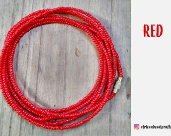 Active Red - Waist Beads - Belly Chain - Belly Beads - African Waist Beads - African jewelry