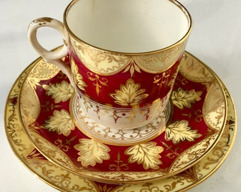 Antique English Staffordshire Tea Cup, Saucer, Dessert Plate. Gold Gild. 1920's.
