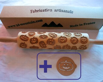 Rolling pin with halloween pumpkin pattern laser engraved.