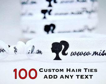 100 Custom Hair Ties, ADD ANY TEXT, Custom Printed Hair Ties, Fundraising, Advertising, Marketing, Handmade Promotional Item, Customize Logo