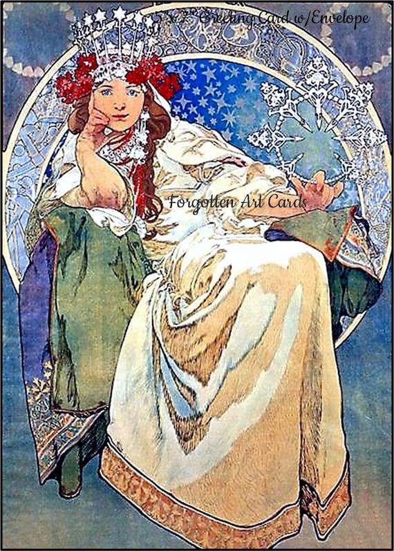 "Princess Hyacinth, 5""x7"" Greeting Card, with Envelope, Forgotten Art Card, Blank Inside, Ice, Blue, Green, Mucha, Pretty Girl Postcards"