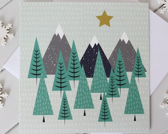 Winter Mountain Scene Christmas Card Scandi Xmas Snow