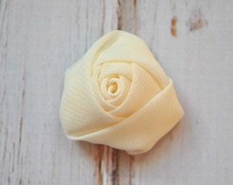 """5pc Ivory Chiffon Rosette - 1.5"""" inch chiffon rose flowers"""