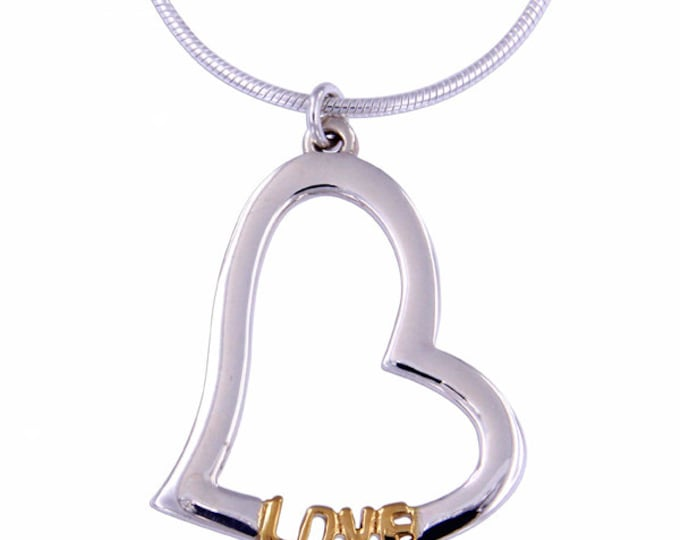Silver hearts pendant with gold plating Sterling Silver Love pendant - Hand Made in UK