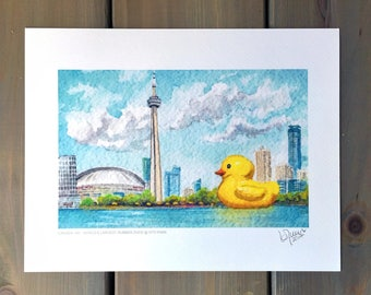 Toronto Art / Canada 150 / World's Largest Rubber Duck / Rubber Duck / HTO Park / Watercolor Print