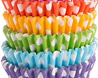 Cupcake Wrappers 24 Rainbow Cupcake Liners Cupcake Wraps Rainbow Decoration Polka Dot Party Favors Birthday Candy Cups Baker Baking Supply
