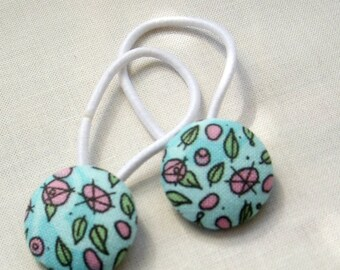 Pink Roses - Ponytail holders - fabric covered button hair ties