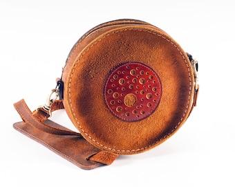 Round leather bag Circle bag Round bag Suede bag Circle crossbody bag Round purse Shoulder bag Crossbody bag Crossbody purse Leather circle
