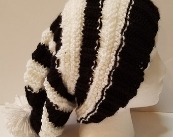 Black and White Slouchy Hat with PomPom