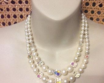 Vintage 1950s designer signed Laguna double strand necklace.
