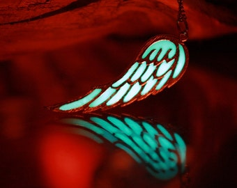 Angel Wing / Angel Wing Necklace / GLOW in the DARK / Gold Wing / Silver Wing /