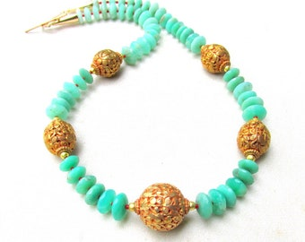 Natural Chrysoprase, tiny Red Coral &22k gp Beaded Necklace - Faceted Vivid Gem Chrysoprase
