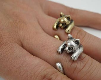 Clinging Kitten Wrap Ring - Adjustable - Witty Novelty