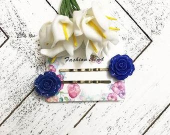 Set of 2 navy rose bobby pins flower hair pins floral bobbies bridal hair pins antiqued hair pins