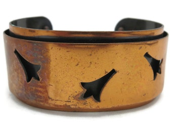 Copper Bracelet - Copper Bangle, Copper Jewelry, Cuff Bracelet, Boho, 1970s, Adjustable, Wide, Stack Bracelet