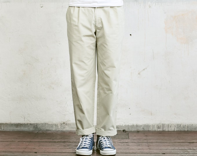 Vintage Men Trousers . Mens 80s Pants Grey Straight Leg Dad Pants Oldschool Chinos Nerd Everyday Clothing Dad Gift . size Small S
