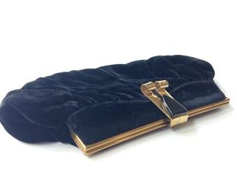 Vintage Black Velvet Clutch Evening Bag Elegant Gold Trim