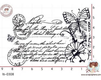 """Writing and Butterfly"" motif rubber stamp mounted on foam"