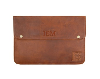"""Brown Leather Macbook Laptop Case/Sleeve  *Personalised* Macbook, Macbook Pro, Pro Retina, and Air (11"""", 12"""", 13"""", 15"""") by MAHI Leather"""
