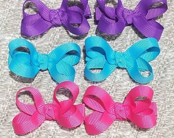 Set of 6 mini hot pink purple and turquoise loopy hair bows non slip alligator clip