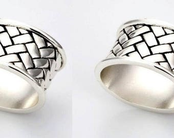 2 x oval napkin rings - antique braided - silver plated