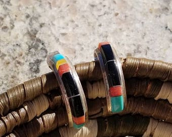 Zuni Inlay Turquoise Onyx Coral Earrings