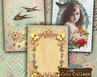Spring Elegance Digital Collage Sheet Printable 2.5x3.5 inch Gift Tags Jewelry Holders Greeting Cards Vintage Ephemera Printable Downloads