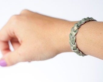 Braided Leather Bracelet / Sage Green