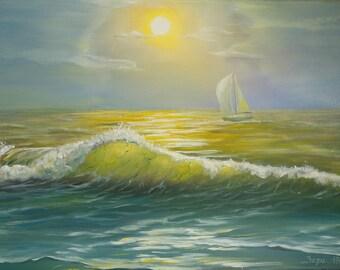 A yacht through the golden sunset