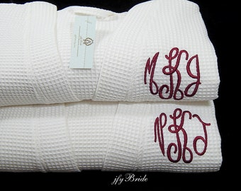 Monogrammed Couples Robes, Waffle Weave Robe Set, Personalized Gift, Cotton Anniversary Gift, Set of 2 Robes