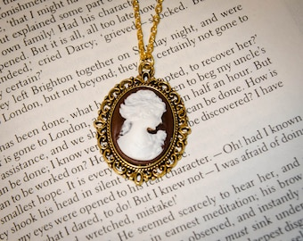 Jane Austen/ Georgian Regency Style Cameo Necklace: Gold, Brown and White