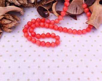 10 pearls gemstone coral salmon orange color, diameter 4 mm