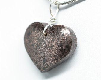 Michigan Copper Firebrick Heart  Pendant