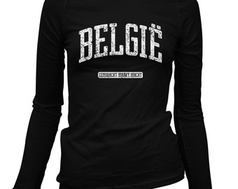 Women's Belgie Long Sleeve Tee - S M L XL 2x - Ladies' Belgium T-shirt, België, Flemish, Belgian - 2 Colors