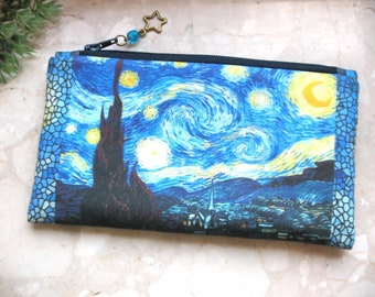 Van Gogh Starry Night cosmetic bag, Van Gogh pouch, phone bag, bridesmaid clutch