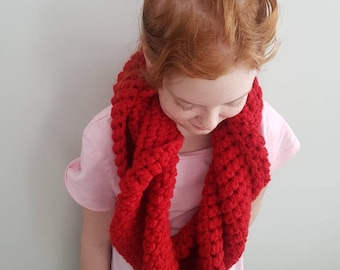 Red crochet thick winter scarf
