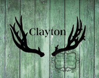Antlers with Custom Name Vinyl Decal