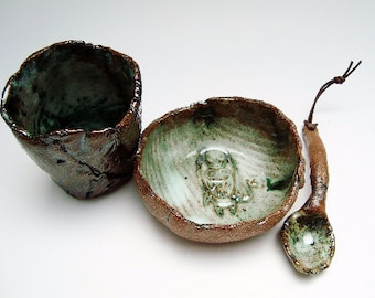 Monster Stoneware Set,  Bowl Cup and Spoon, Hobbitware , Small Rough Tableware. Rustic Pottery, weird Clay Tableware, OOAK