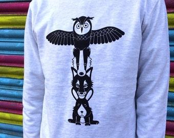Totem Pole Jumper, Tote Pole Sweater, Animal Sweatshirt, Owl Jumper, Fox Sweater, Woodland Sweater, Screenprinted Jumper, Funny Sweater