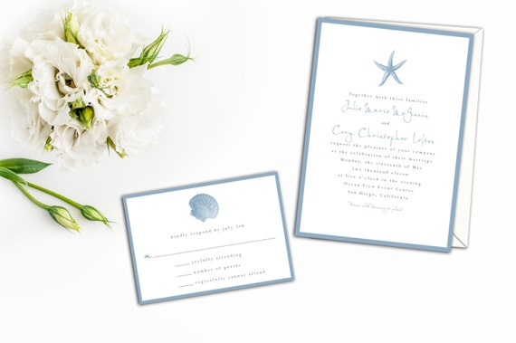 Starfish Beach Wedding Invitation Wedding Invitations
