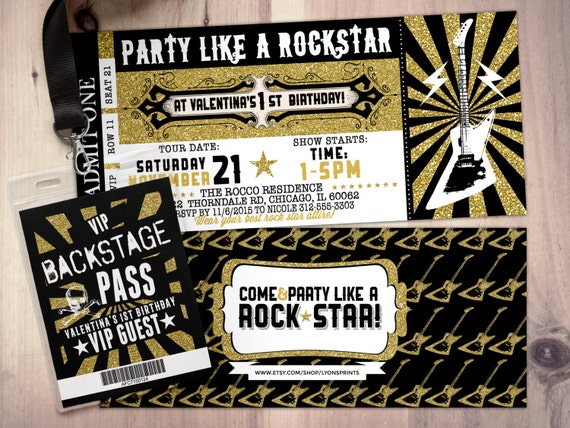 Rock star concert ticket birthday party invitation music rock star concert ticket birthday party invitation music invitation photo card printable rockstar party rock star invitation vip pass stopboris Images