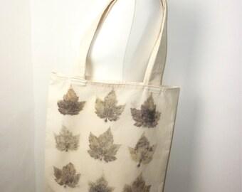 sycamore eco print bag cotton bag large tote bag leaf print bag eco friendly bag shopping bag market bag earthy rustic shopper vegan bag