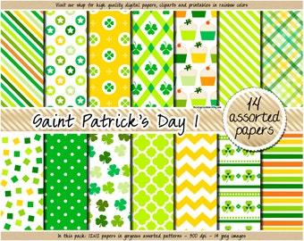 SALE St Patricks Day digital paper Shamrock digital paper Green digital paper Irish patterns Clover Horseshoe Pot of Gold clipart scrapbook