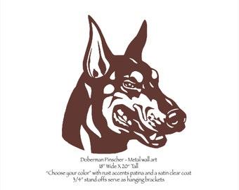 """Doberman Pinscher metal wall art - 20"""" tall - choose your color - dog art - Doberman Face wall art canine dog breed doberman head metal art"""