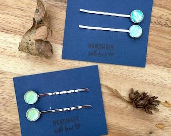 Watercolor hair pin, set of 2 pins. Silver bobby pin. Color Options